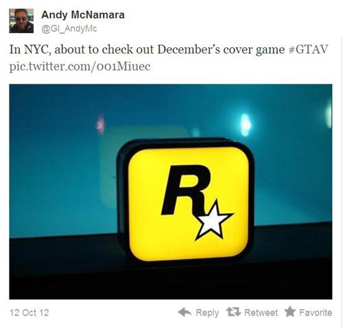 Game Informer主编Andy的Twitter截图