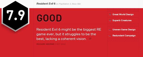 生化危机6 IGN评分:7.9分