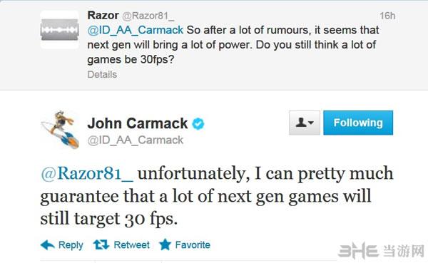 约翰卡马克:大部分次世代主机游戏的运行帧率只有30fps