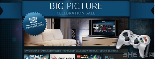 steam平台登录电视 大界面模式让你在客厅里就玩传送门