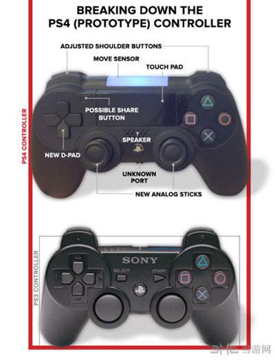 索尼ps4手柄与PS3手柄对比图