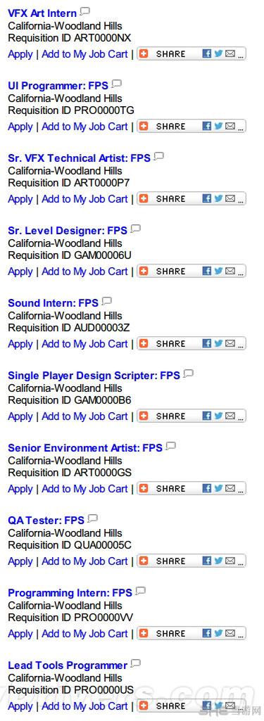 进入招聘区后,可以看到大量和FPS相关的职位需求