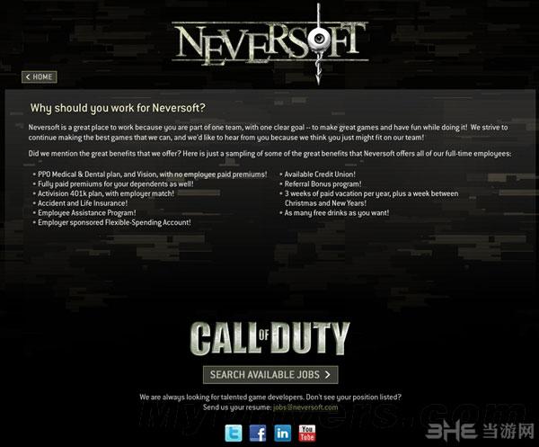 Neversoft官网显示:他们正在招聘大量使命召唤工作人员