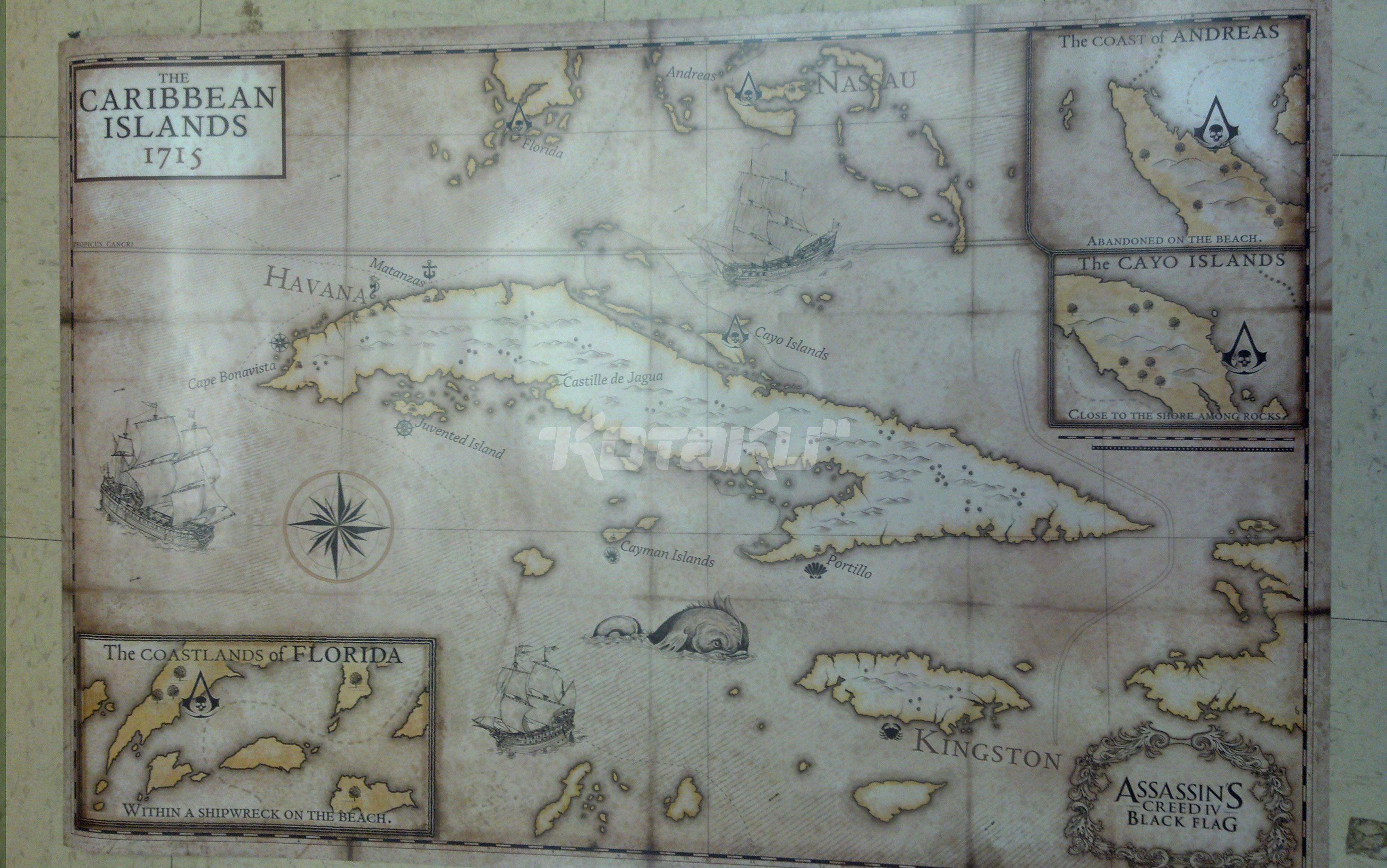 曝光的《刺客信条4》加勒比海地图