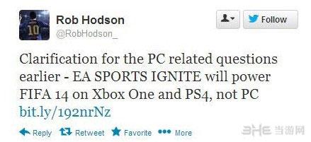 FIFA社区经理Rob Hodson的推特截图