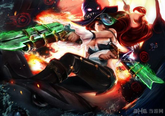 英雄联盟玩家手绘图片欣赏 女枪双管齐下大战机器人
