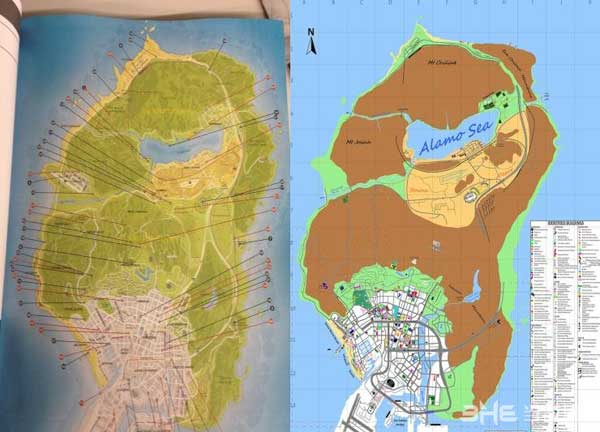 gta5官方地图与之前玩家手绘地图对比