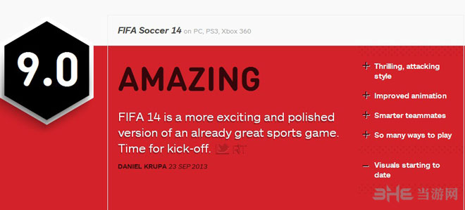 FIFA14IGN评分9.0