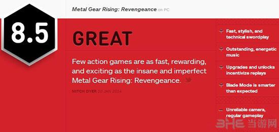 合金装备崛起复仇pc版获IGN8.5好评