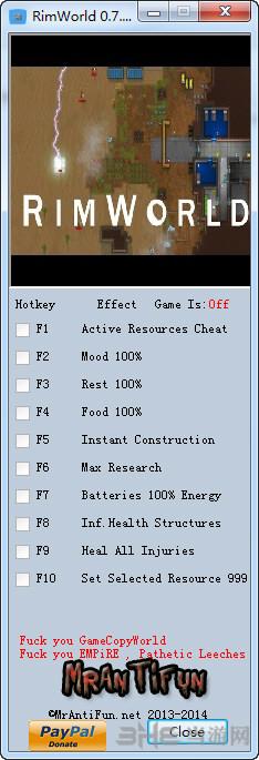 环世界PC测试版九项修改器截图0