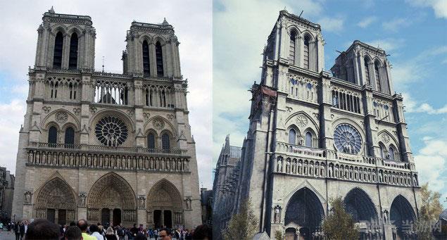 刺客信条大革命巴黎圣母院对比照