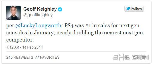 1月PS4销量为XboxOne2倍