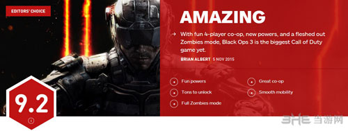 使命召唤12黑色行动3 IGN评分