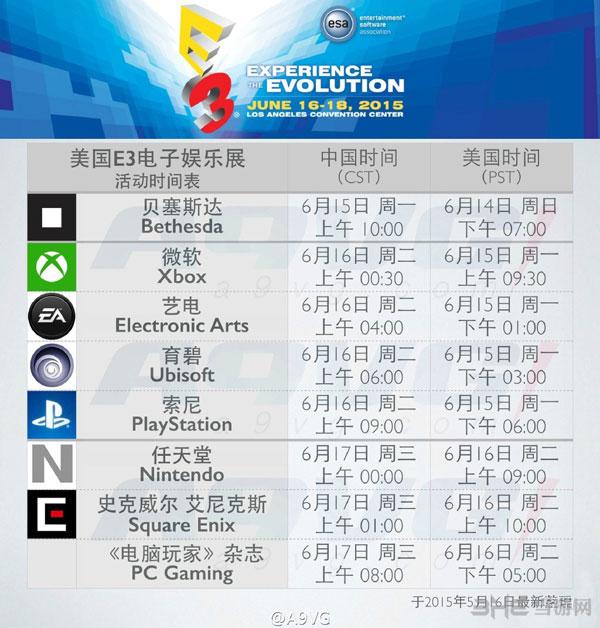 E3 2015发布会时间