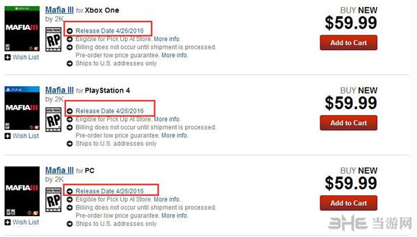 GameStop黑手党3商品截图1