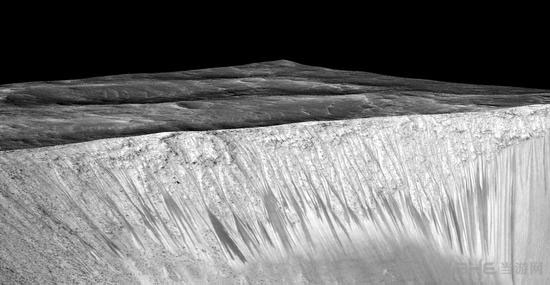 火星陨坑上疑似液态水痕迹的暗色带