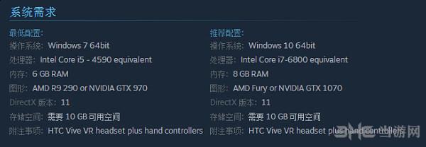 英雄萨姆VR配置要求