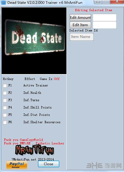 死亡国度六项修改器MrAntiFun版截图0