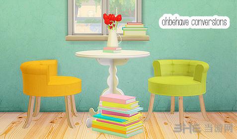 模拟人生4糖果色书与桌椅MOD截图0
