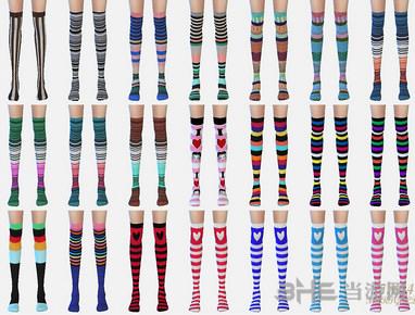 模拟人生4 56色过膝花袜MOD截图3