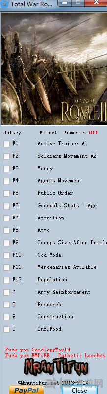 罗马2全面战争帝国版十五项修改器截图0