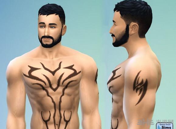 模拟人生4胸前虎纹纹身MOD截图0