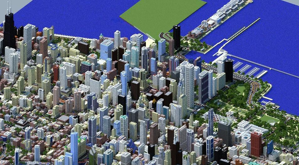 我的世界1:4芝加哥城地图存档截图3