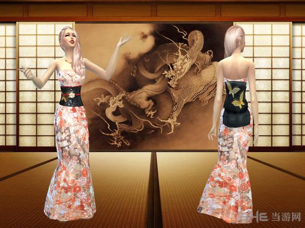 模拟人生4樱花色灵感和服MOD截图0