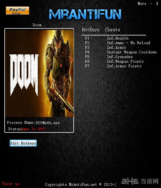 毁灭战士4八项修改器MrAntiFun截图0