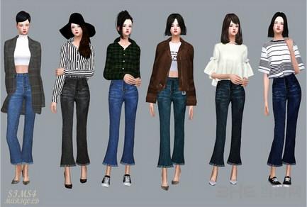 模拟人生4 6色喇叭牛仔裤MOD截图0