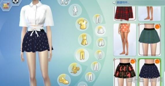 模拟人生4 女孩花纹制服裙MOD截图4