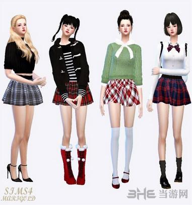 模拟人生4 女孩花纹制服裙MOD截图2