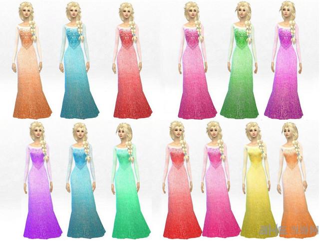 模拟人生4 13色冰雪奇缘Elsa连衣裙MOD截图0