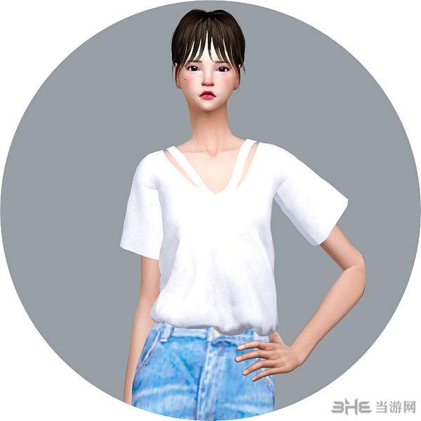 模拟人生4四色V领女式上衣MOD截图0