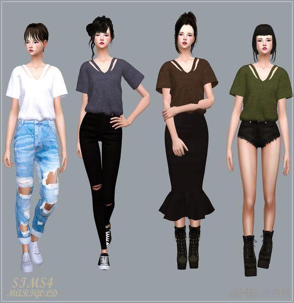模拟人生4四色V领女式上衣MOD截图1