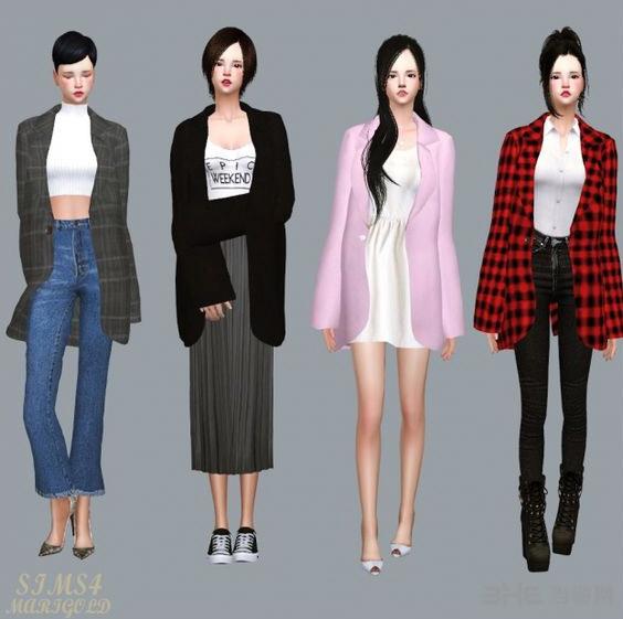 模拟人生4 10色女式风衣MOD截图1