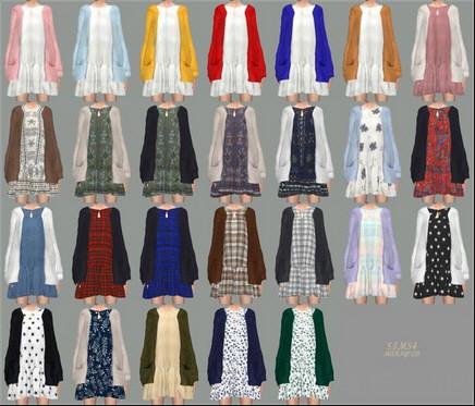 模拟人生4 26色洋装长款连衣裙MOD截图1