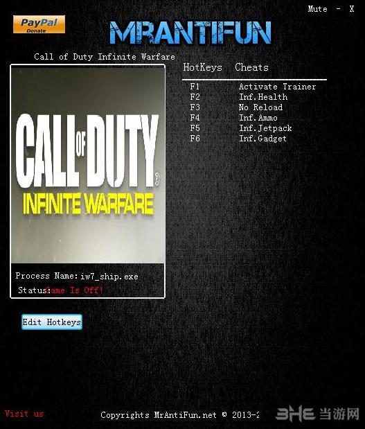 使命召唤13:无限战争五项修改器MrAntiFun版截图0