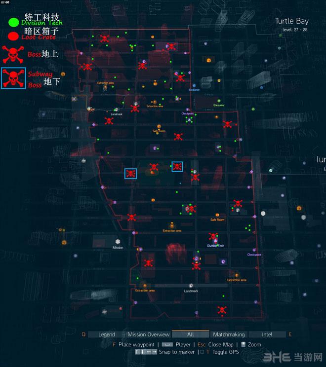 全境封锁暗区特工科技和BOSS位置标记地图1