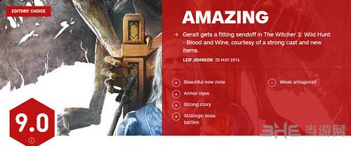 巫师3狂猎血与酒IGN评分