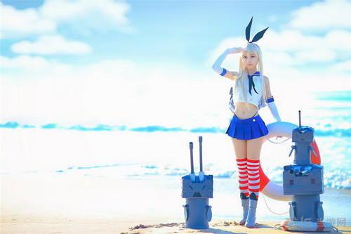 舰娘岛风超可爱cos图欣赏 阳光沙滩元气美少女