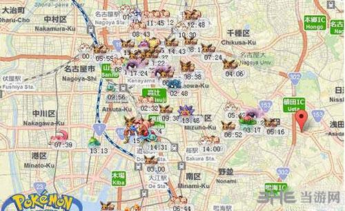 精灵宝可梦GO日本名古屋精灵分布图