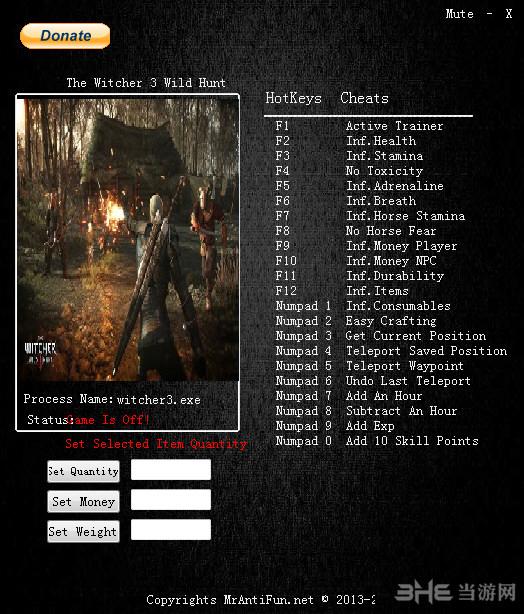 巫师3狂猎v1.31二十四项修改器截图0