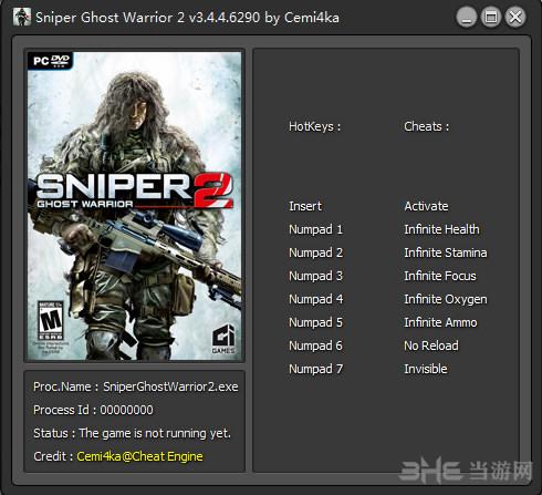 狙击手:幽灵战士2七项修改器截图0