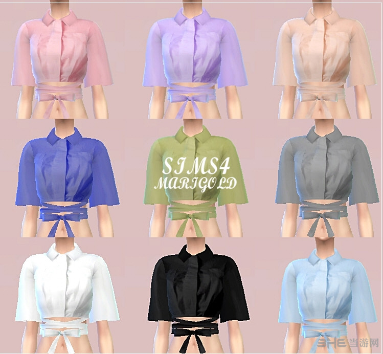 模拟人生4 9色女式衬衫MOD截图0