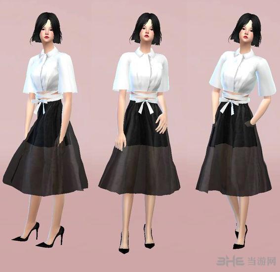 模拟人生4黑白女式纱裙MOD截图0