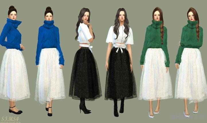 模拟人生4黑白女式纱裙MOD截图1