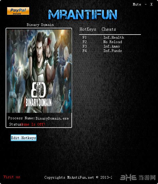 二进制领域四项修改器MrAntiFun版截图0