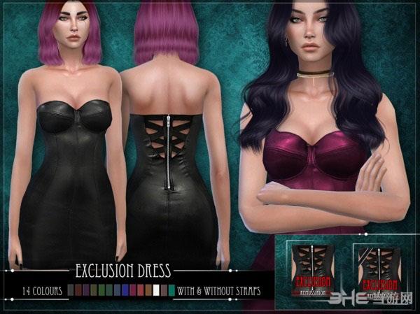 模拟人生4v1.31Exclusion皮革材质背拉链迷你裙MOD截图0