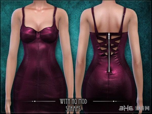 模拟人生4v1.31Exclusion皮革材质背拉链迷你裙MOD截图2